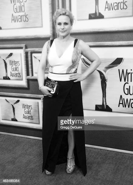 Actress Patricia Arquette arrives at the 2015 Writers Guild Awards LA Ceremony at the Hyatt Regency Century Plaza on February 14 2015 in Los Angeles...