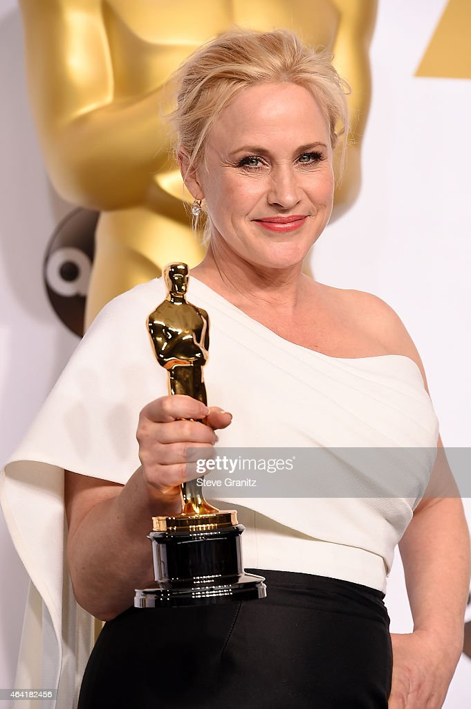 Actress Patricia Arquette poses in the press room during the 87th Annual Academy Awards at Loews Hollywood Hotel on February 22, 2015 in Hollywood, California.