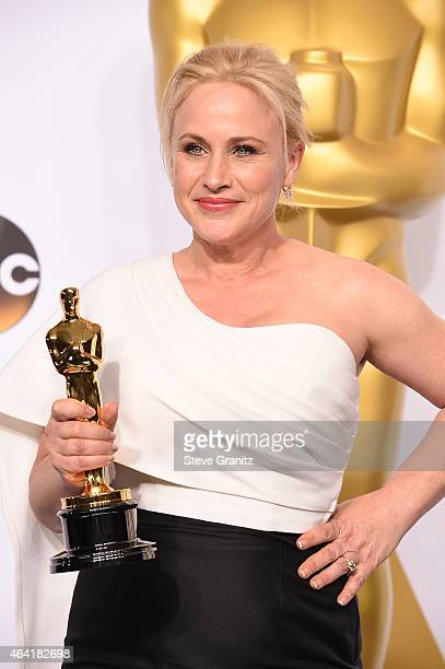 Actress Patricia Arquette poses in the press room during the 87th Annual Academy Awards at Loews Hollywood Hotel on February 22, 2015 in Hollywood,...