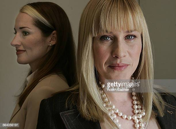 Actress Patricia Arquette right portrays Allison Dubois left who is the subject of the NBC television show Medium at Paramount Studios in Hollywood...