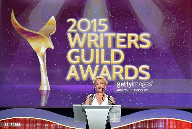 Actress Patricia Arquette speaks onstage at the 2015 Writers Guild Awards L.A. Ceremony at the Hyatt Regency Century Plaza on February 14, 2015 in...