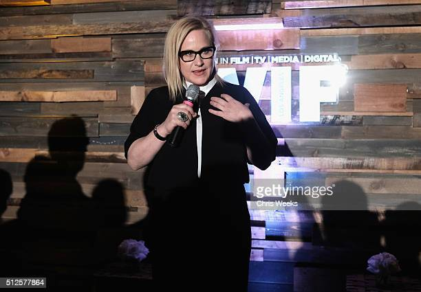 Actress Patricia Arquette speaks onstage during Ninth Annual Women In Film PreOscar Cocktail Party Cohosted by PerrierJouët on February 26 2016 in...