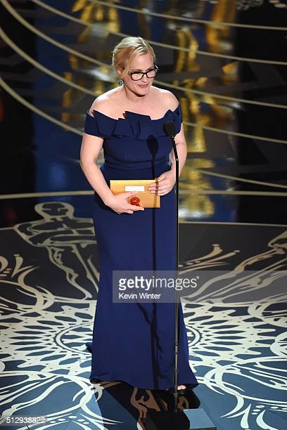 Actress Patricia Arquette speaks onstage during the 88th Annual Academy Awards at the Dolby Theatre on February 28 2016 in Hollywood California