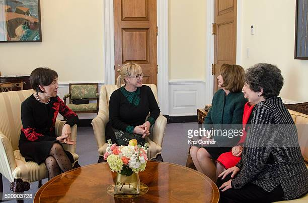 Actress Patricia Arquette speaks with House Democratic Leader Nancy Pelosi Rep Carolyn Maloney Rep Doris Matsui and Rep Lois Frankel during a 'When...