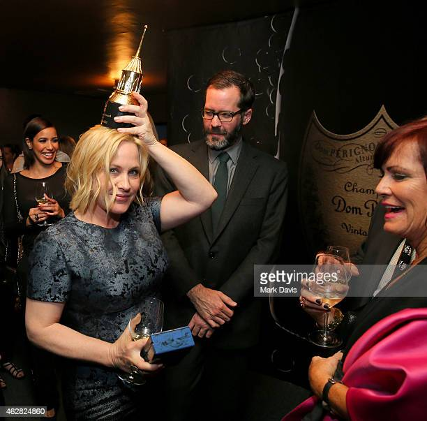 Actress Patricia Arquette visits the Dom Perignon Lounge after the American Riviera Award at The Santa Barbara International Film Festival on...