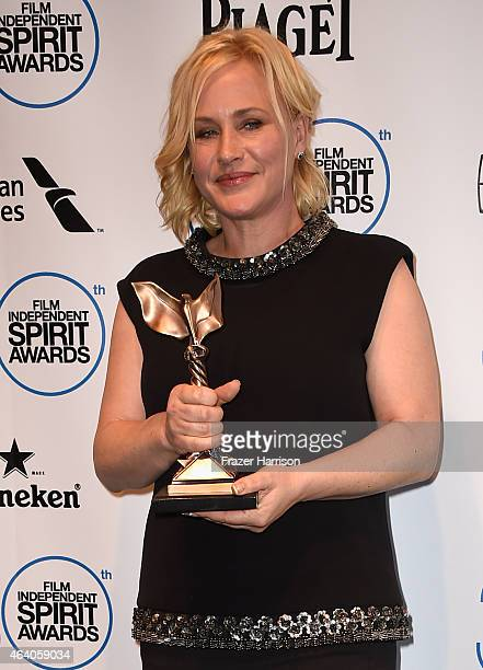 Actress Patricia Arquette winner of the Best Supporting Female Award for Boyhood poses in the press room during the 2015 Film Independent Spirit...