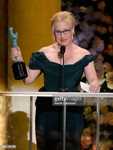 Actress Patricia Arquette, winner of the Outstanding Performance by a Female Actor in a Supporting Role award, speaks onstage at the 21st Annual...