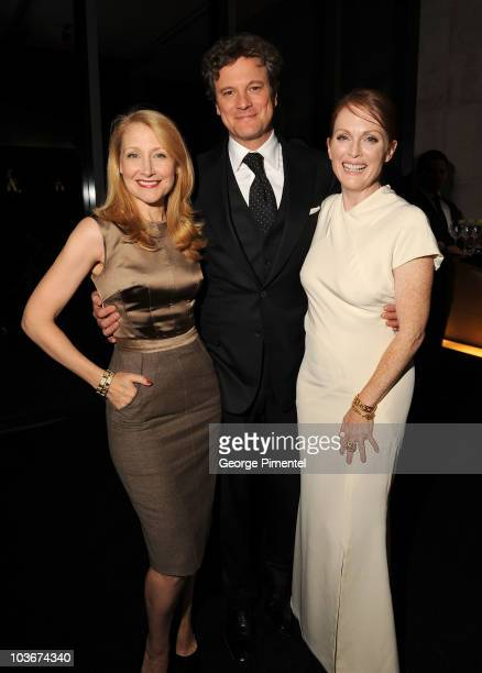 """Actress Patricia Clarkson, Actor Colin Firth and Actress Julianne Moore attend the """"A Single Man"""" After Party held at Jamie Kennedy Center at the..."""