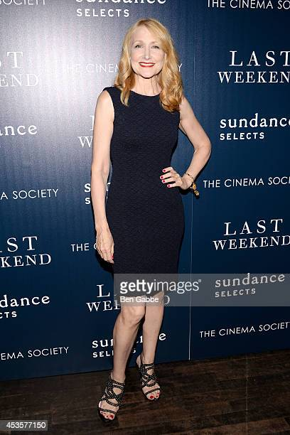 Actress Patricia Clarkson attends the Sundance Selects The Cinema Society special screening of 'Last Weekend' at Tribeca Grand Hotel on August 13...