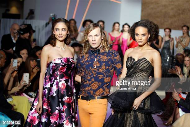 Actress Patricia Contreras Designer Christophe Guillarme Miss France 2017 Alicia Aylies walk the runway during the Christophe Guillarme show as part...