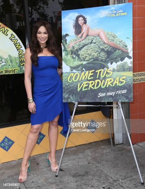 Actress Patricia De Leon attends the unveiling of her naked ad campaign to celebrate the launch of PETA Latino at Mama's International Tamales on...