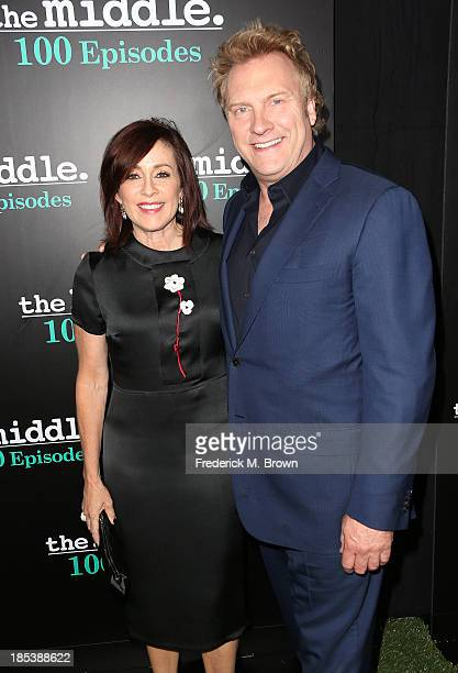 Actress Patricia Heaton and David Hunt attend ABC's The Middle 100th Episode Celebration at Spectra by Wolfgang Puck at the Pacific Design Center on...