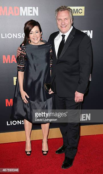 Actress Patricia Heaton and husband actor David Hunt attend the AMC celebration of the final 7 episodes of Mad Men with The Black Red Ball at the...