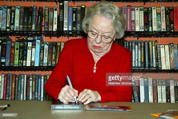 Actress Patricia Hitchcock O'Connell signs an Alfred Hitchcock DVD during a signing at Rocket Video on October 5 2005 in Hollywood California