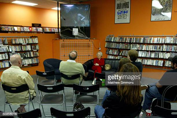 Actress Patricia Hitchcock O'Connell speaks to fans of director Alfred Hitchcock during a DVD signing at Rocket Video on October 5, 2005 in...