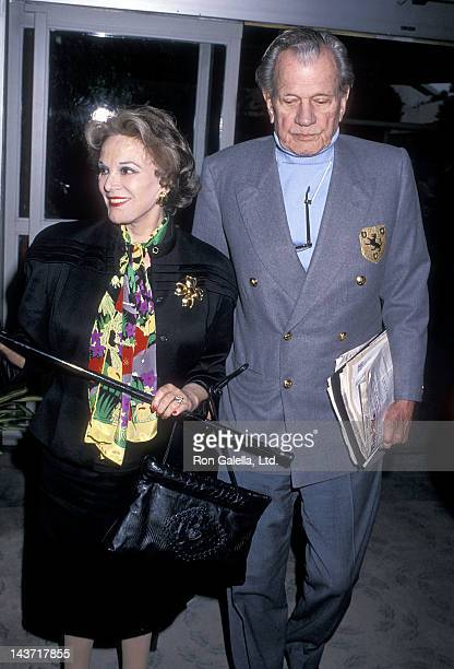 Actress Patricia Medina and actor Joseph Cotton attend the Sixth Annual American Cinema Awards Rehearsals on January 5 1989 at the Beverly Hilton...