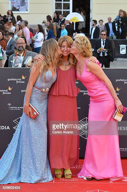 Actress Patricia Montero director Ines Paris and actress Belen Rueda attend Nuestros Amantes premiere at the Cervantes Teather during the 19th Malaga...