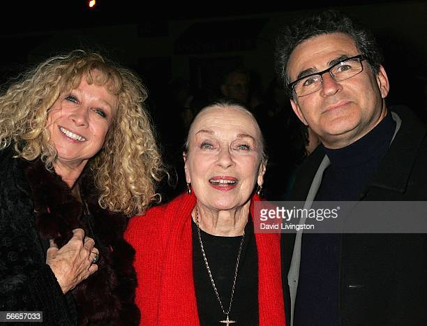 Actress Patricia Morison poses with Murphy Cross and Paul Kreppel codirectors/cocreators of the production at the celebrity opening night of the...