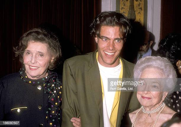 Actress Patricia Neal Actor Dana Ashbrook and Actress Helen Hayes attend Helen Hayes' 90th Birthday Celebration on October 22 1990 at The Plaza Hotel...