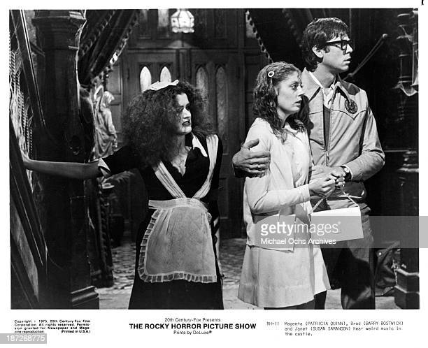 Actress Patricia Quinnactor Barry Bostwick and actress Susan Sarandon on set of the Cinemax movie 'The Rocky Horror Picture Show' in 1975