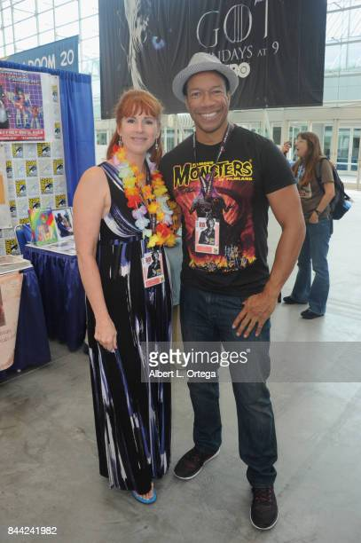 Actress Patricia Tallman and actor Rico E Anderson sign autographs on Sunday Day 4 of ComicCon International on July 23 2017 in San Diego California