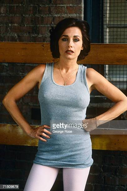 Actress Patti d'Arbanville poses in costume during the 1988 Los Angeles California filming of her TV movie Crossing The Mob D'Arbanville brief fling...