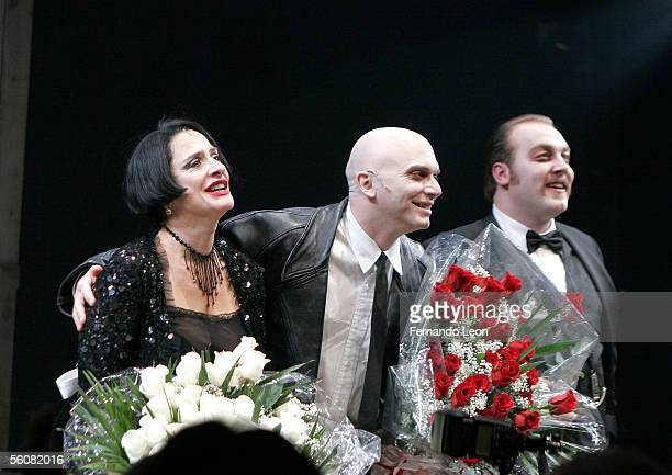 Actress Patti LuPone actor MIchael Cerveris and actor Alexander Gemignani on stage during the curtain call for the opening night performance of...