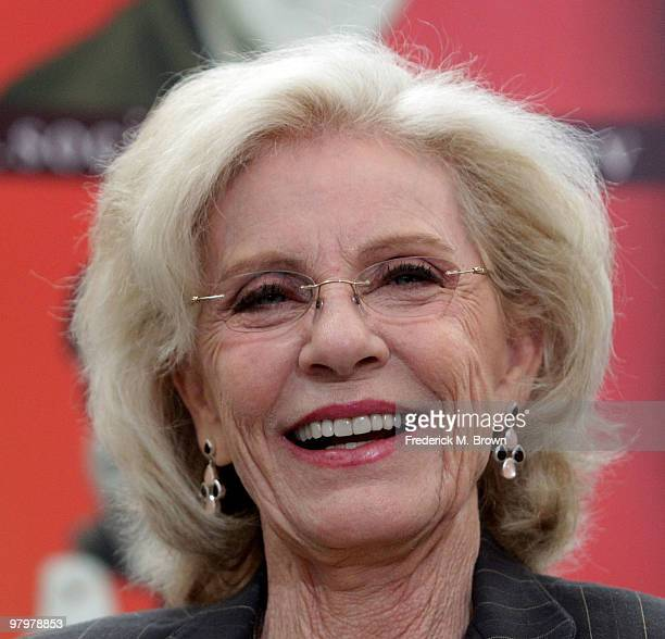 Actress Patty Duke speaks during the Social Security Administration Reunites the cast of The Patty Duke Show press conference at the Paley Center for...