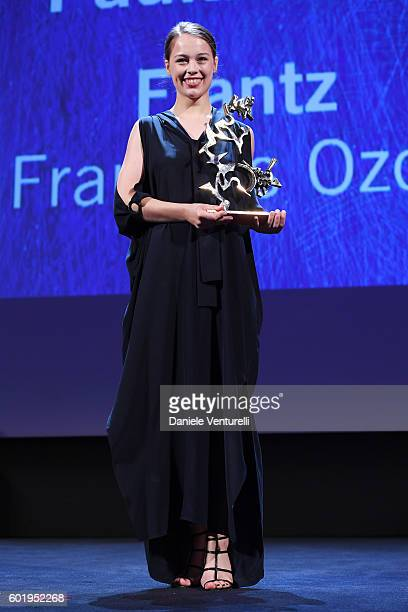 Actress Paula Beer receives the Premio Marcello Mastroianni Award for Best New Young Actress for 'Frantz' during the closing ceremony of the 73rd...