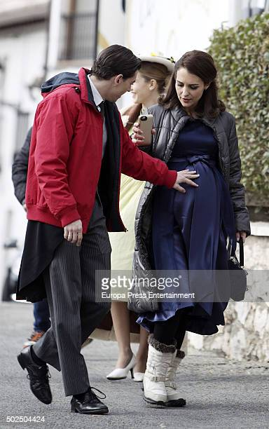 Actress Paula Echevarria and actor Asier Etxeandia are seen during the set filming of 'Galerias Velvet' on December 14 2015 in Madrid Spain