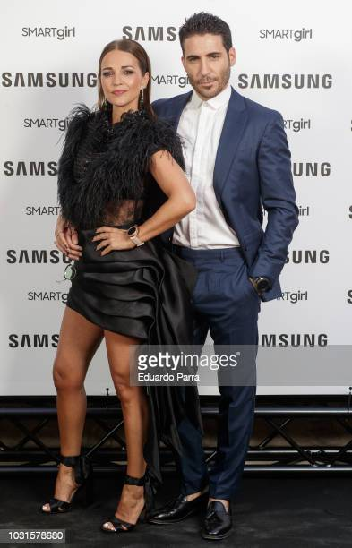 Actress Paula Echevarria and actor Miguel Angel Silvestre present the new Samsung Galaxy watch at Saldana palace on September 11, 2018 in Madrid,...