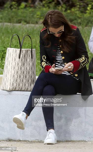 Actress Paula Echevarria are seen during a break on the set filming of 'Galerias Velvet' on April 28 2015 in Madrid Spain