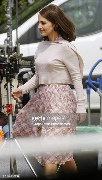 Actress Paula Echevarria is seen during the set filming of 'Galerias Velvet' on April 28 2015 in Madrid Spain
