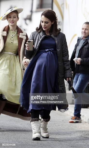 Actress Paula Echevarria is seen during the set filming of 'Galerias Velvet' on December 14 2015 in Madrid Spain