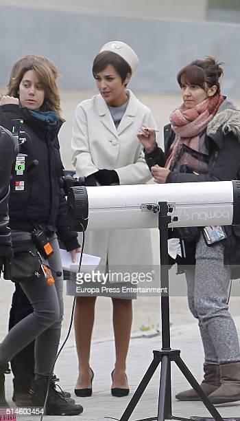 Actress Paula Echevarria is seen on the set of 'Galerias Velvet' on March 9 2016 in Madrid Spain