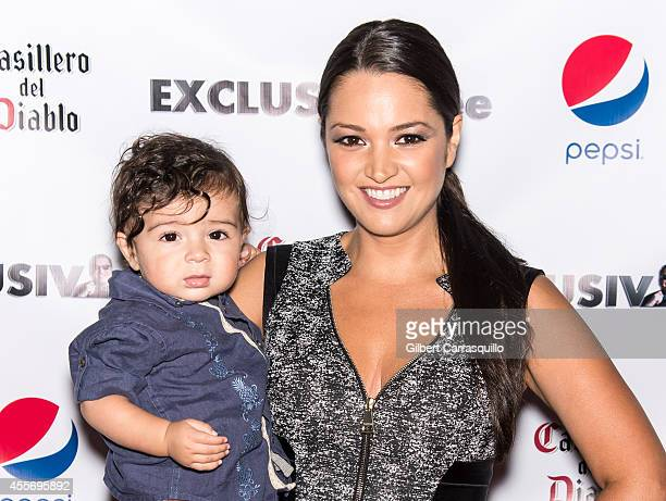 Actress Paula Garces and her son Antonio Andres Hernandez attend the New York Launch party for Exclusivlee.com at Stray Kat Gallery on September 18,...