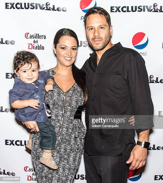 Actress Paula Garces her son Antonio Andres Hernandez and husband Antonio Hernandez attend the New York Launch party for Exclusivlee.com at Stray Kat...