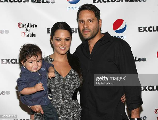 Actress Paula Garces Tony Hernandez and Antonio Hernandez attends the Exclusivleecom Launch Party>> at Stray Kat Gallery on September 18 2014 in New...