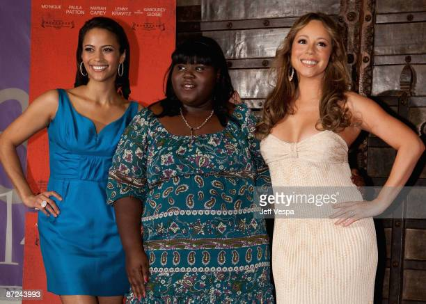 Actress Paula Patton actress Gabourey Sidibe and actress/singer Mariah Carey attend the 'Precious' Photo Call at the Hotel 314 during the 62nd Annual...