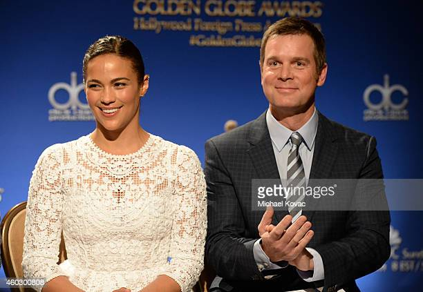 Actress Paula Patton and actor Peter Krause attend the Moet Chandon Toast at The 72nd Annual Golden Globe Awards Nominations at The Beverly Hilton...