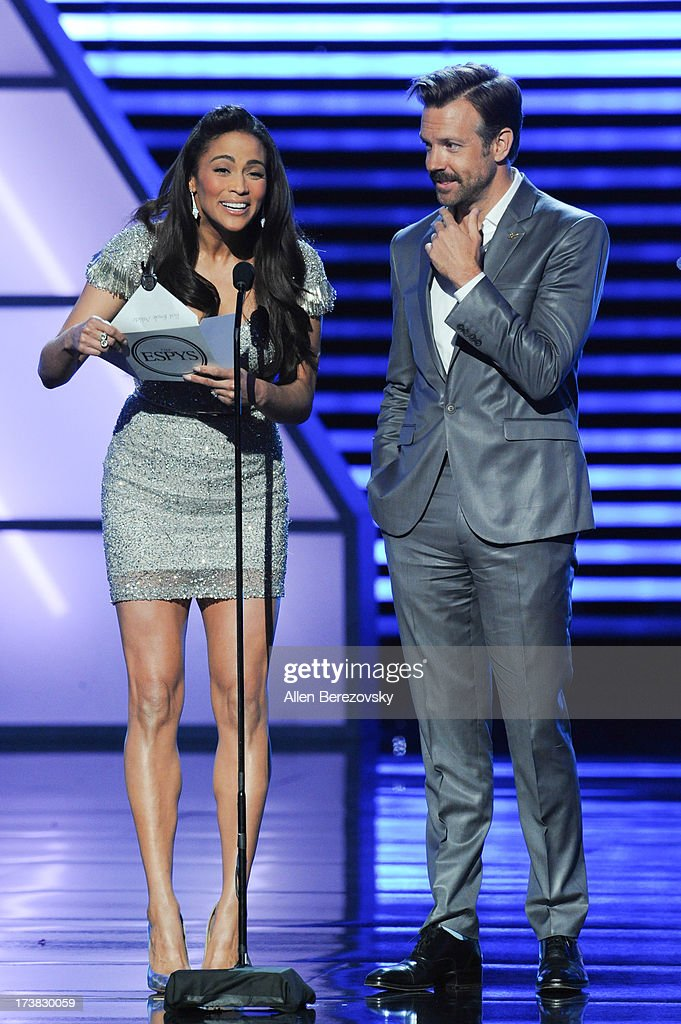 Actress Paula Patton and Actor/comedian Jason Sudeikis speaks onstage at the 2013 ESPY Awards at Nokia Theatre L.A. Live on July 17, 2013 in Los Angeles, California.