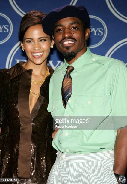 Actress Paula Patton and actor/singer Andre 3000 pose in the press room at the 2006 ESPY Awards at the Kodak Theatre on July 12 2006 in Hollywood...