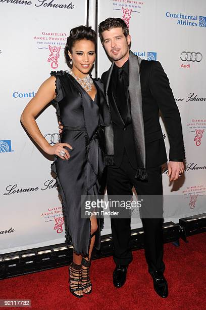 Actress Paula Patton and singer Robin Thicke attend the 2009 Angel Ball at Cipriani Wall Street on October 20 2009 in New York City