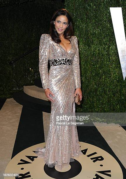 Actress Paula Patton arrives at the 2013 Vanity Fair Oscar Party hosted by Graydon Carter at Sunset Tower on February 24 2013 in West Hollywood...