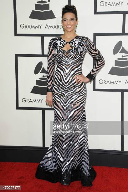 Actress Paula Patton arrives at the 56th GRAMMY Awards at Staples Center on January 26 2014 in Los Angeles California