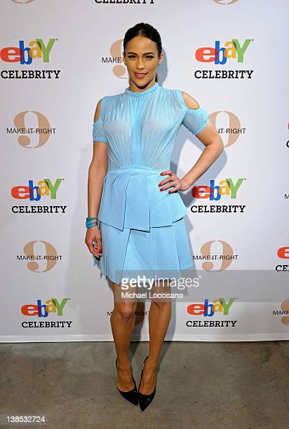 Actress Paula Patton attends eBay Celebrity and Brad Pitt's Make It Right Celebrate PopUp Gallery Exhibition at Chelsea Market on February 8 2012 in...