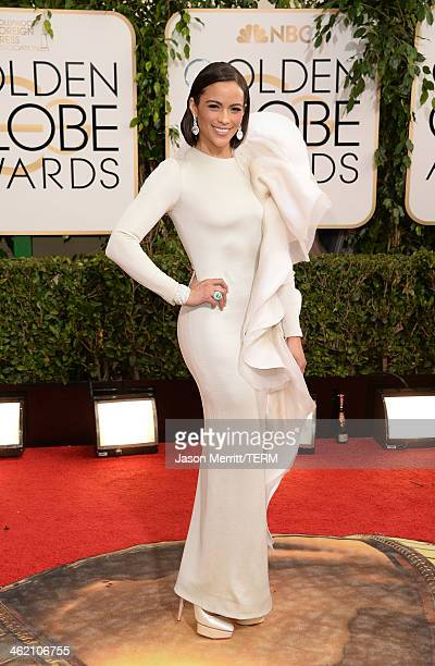 Actress Paula Patton attends the 71st Annual Golden Globe Awards held at The Beverly Hilton Hotel on January 12 2014 in Beverly Hills California