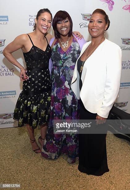 Actress Paula Patton honoree Kellie Williams and honoree Queen Latifah attend the 15th Annual Chrysalis Butterfly Ball at a Private Residence on June...