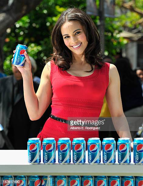 Actress Paula Patton kicks off Pepsi NEXT's Drink It To Believe It campaign at The Grove on April 9 2012 in Los Angeles California