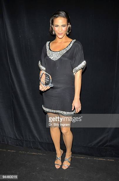 Actress Paula Patton poses backstage at the 2009 African American Critics Association Awards at The Ebony Repertory Theatre on December 14 2009 in...